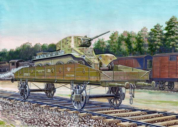 Railway platform with BT-5 tank. No.643